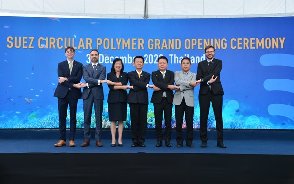 The opening ceremony of SUEZ Circular Polymer Plant is marked by the presence of (from left) Jerome Le Borgne Southeast Asia Project Development Director Recycling and Recovery SUEZ; Olivier Richard, Embassy of France; Krittika Panprasert, Director of Tax Incentive Bureau, Thai Customs Department; Sumate Teeraniti, Deputy of Samutprakarn Province Governor; Sakchai Patiparnpreechavud, Vice President, Polyolefins and Vinyl Business, Chemicals Business, SCG; Amnuay Suwannarak, Director of Samutprakarn Industrial Works, Samutprakan Provincial Industrial Office; and David Bourge, General Manager of SUEZ Circular Polymer, in Bang Phli.