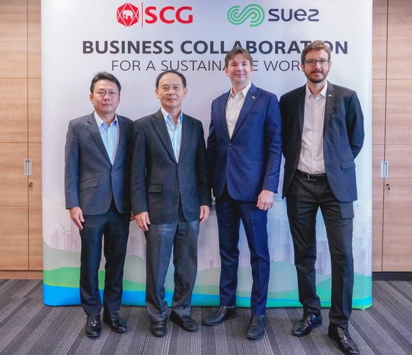 (From left) The partnership is marked by Sakchai Patiparnpreechavud, Vice President, Polyolefins and Vinyl Business, Chemicals Business, SCG; Tanawong Areeratchakul, President, Chemicals Business, SCG; Jerome Le Borgne, Southeast Asia Project Development Director, Recycling and Recovery of SUEZ; and David Bourge, General Manager of SUEZ Circular Polymer.