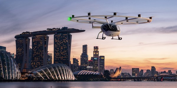 Volocopter Commits to Launch Air Taxi Services in Singapore, VoloCity over Singapore ©Volocopter