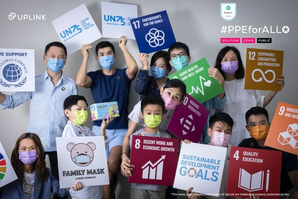 Jessie Chung, Kenneth Kwok and members of the Family Mask and the MXA Group team celebrating the milestone of 1,000,000 surgical-grade masks donated during United Nations General Assembly 2020 Week