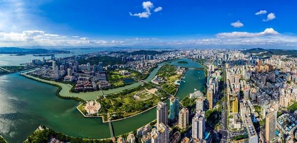 An aerial photo of Bailuzhou Park in Xiamen, East China's Fujian province [Photo provided to China Daily]