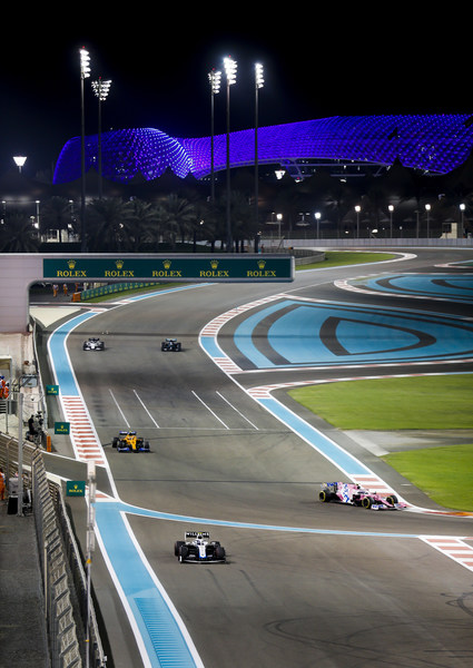Yas Island illuminated blue during the Abu Dhabi Grand Prix in honour of frontline workers