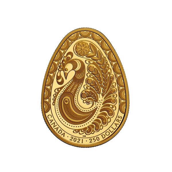 The Royal Canadian Mint's new pure gold Pysanka coin featuring a meticulously engraved design celebrating the eternal renewal of the spring season