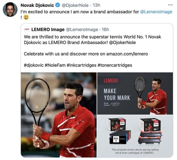 Novak Djokovic announced he has been a brand ambassador for LEMERO on Twitter.