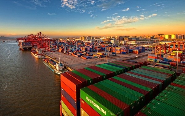 An aerial view of Xiamen Port in East China's Fujian province. [Photo provided to China Daily]