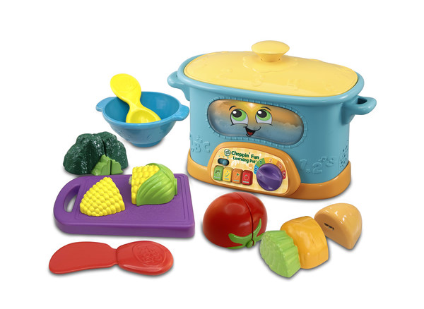 VTech's newly launched eco-friendly products include the Choppin' Fun Learning Pot™ with vegetables accessories made from plant-based plastic.