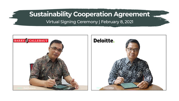 Barry Callebaut and Deloitte jointly announced a multi-year strategic collaboration to deliver educational and skills development programs to empower over 30,000 cocoa farmers in Indonesia (Left: Dodi Rubiarto, Site Manager for Papandayan Cocoa Industries (PCI Bandung), Barry Callebaut Indonesia; Right: Steve Aditya, Clients & Markets Director, Deloitte Indonesia)