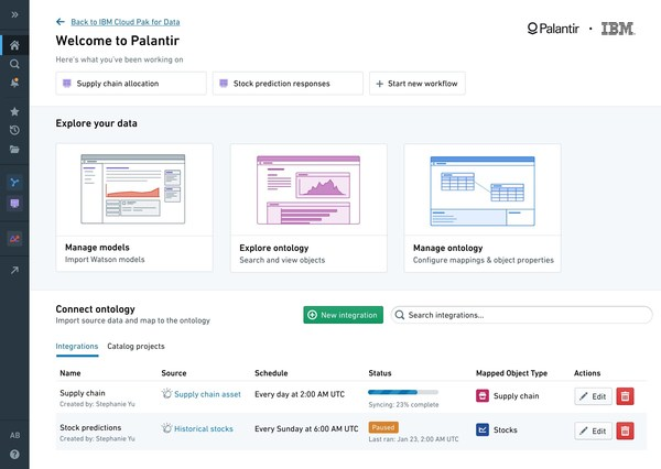 """Data spread across an organization in silos makes developing insights with AI time-intensive and difficult to scale. IBM and Palantir are partnering on a new solution, """"Palantir for IBM Cloud Pak for Data,"""" designed to help businesses in retail, financial services, manufacturing, healthcare and telecommunications use AI to make more informed business decisions and automate outcomes."""