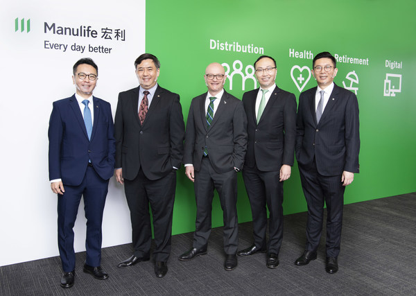 Manulife Hong Kong announced today its fourth quarter and full-year 2020 financial results. Present at the press briefing were (from left to right): Raymond Ng, Head of Employee Benefits; Rockson Leung, Chief Financial Officer; Damien Green, Chief Executive Officer; Wilton Kee, Chief Product Officer and Head of Health; and Ivan Chan, Chief Agency Officer.