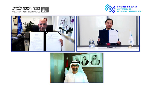 H.E. Dr. Sultan Ahmed Al Jaber, UAE Minister of Industry and Advanced Technology and Chairman of the MBZUAI Board of Trustees, Professor Eric Xing, President of MBZUAI, and Professor Alon Chen, President of Weizmann Institute of Science