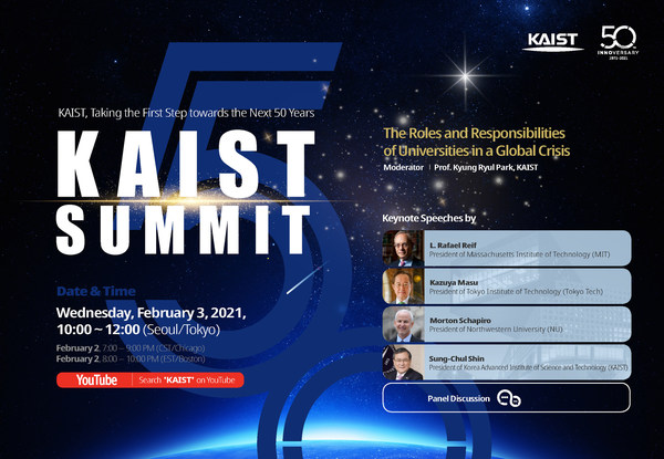 KAIST summit about the Post-COVID Era will be live-streamed on KAIST's official YouTube channel (https://www.youtube.com/c/KAISTofficial) on February 3, 2021, from 10 a.m. to 12:00 p.m. Korean time (February 2, 7:00-9:00 p.m. CST and 8:00-10:00 p.m. EST, respectively)
