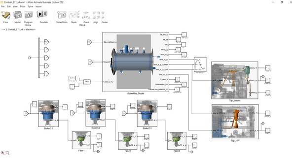 Detailed system modeling with Altair Activate allows subsystem optimization. The full thermo dynamic behavior of all parts of the Faema coffee machine is represented in a modular scheme, allowing for a realistic representation, parameter studies, and optimization of the entire system.