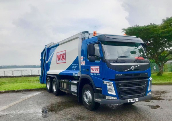 Waste collection trucks operated by Wah & Hua in Singapore. Photo: Wah & Hua Pte Ltd