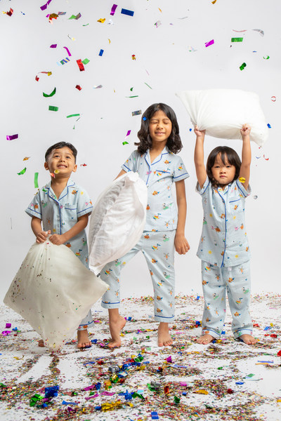 Featuring three adorable champions of good poop – Super Pooper, Gutsy Gal and Poopoo Power – against Maison Q's signature scallop print, the sleepwear is an adorable yet important reminder of the importance of good sleep for good gut health in young children.