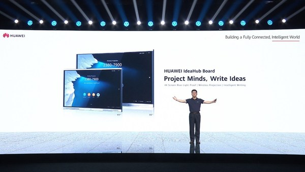 PAN Yong, VP of Huawei Intelligent Vision & Collaboration Product & Solution Sales Dept, launches HUAWEI IdeaHub Board