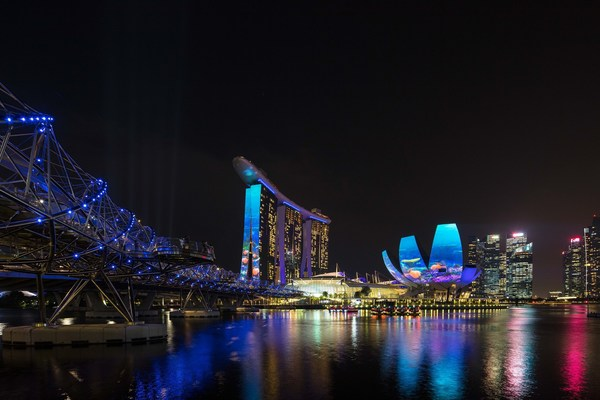 Disney+ projection mapping on Marina Bay Sands' hotel towers and ArtScience Museum (credit Marina Bay Sands)