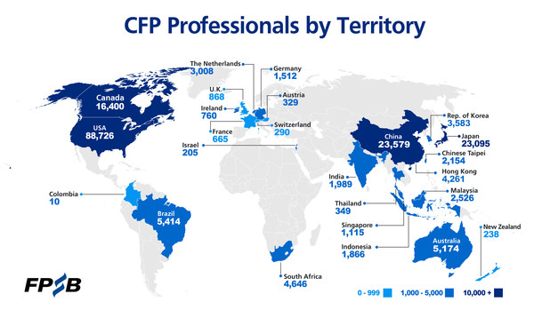 CFP professionals by territory as of 31 December 2020