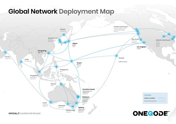 OneQode's global network rollout map