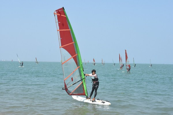 Windsurfing athletes in training at the Haikou National Sailing and Windsurfing Base