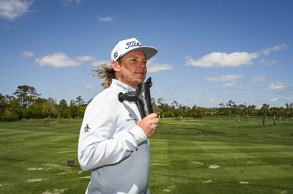 PONTE VEDRA BEACH, FL - APRIL 02: Hyperice shoot with Cameron Smith of Australia on the Stadium Course at TPC Sawgrass on April 2, 2021, in Ponte Vedra Beach, Florida. (Photo by Keyur Khamar/PGA TOUR via Getty Images)