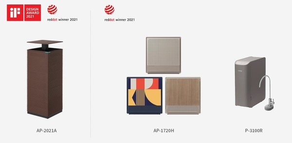 Coway wins Red Dot Award: Product Design 2021 and iF Design Award 2021.
