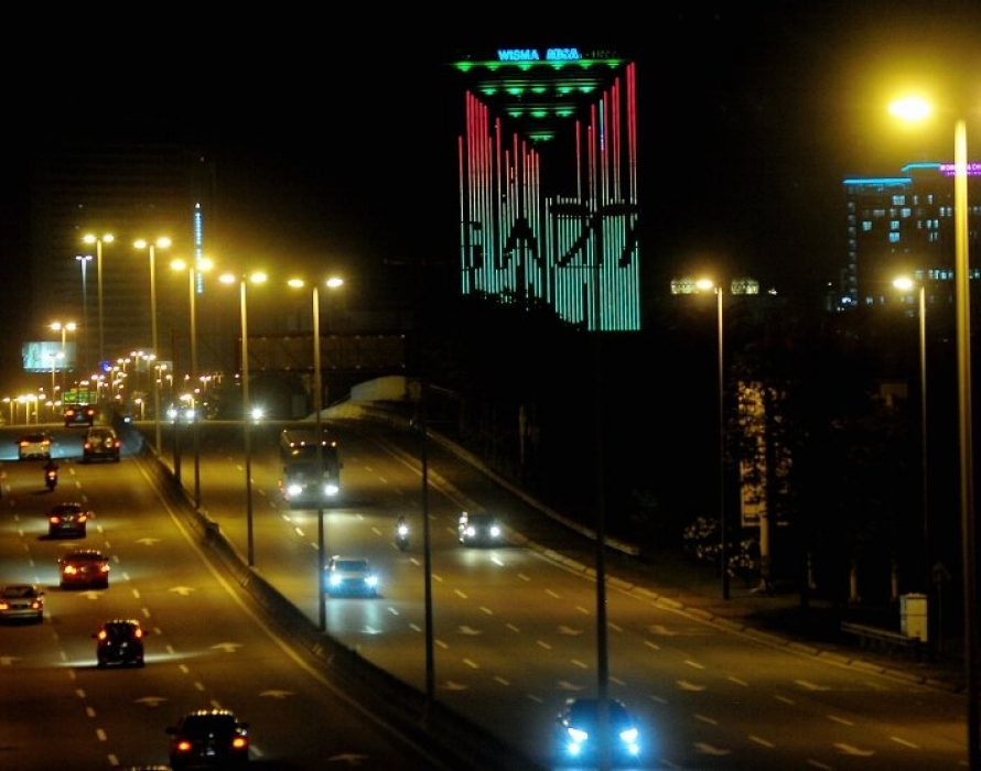 Wisma MBSA lights up with colours of Palestine flag