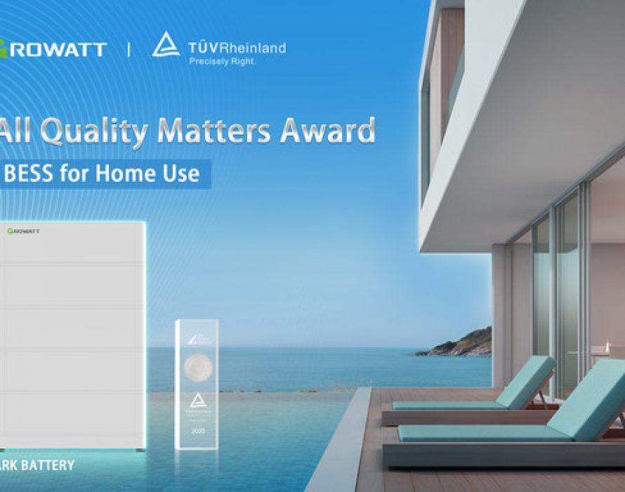 Growatt wins TÜV Rheinland's All Quality Matters Award for its ARK battery