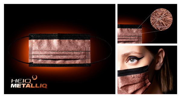 HeiQ MetalliQ Type IIR surgical mask with an antiviral copper coated surface that deactivates 97.79% SARS-CoV-2 in five minutes. (image from HeiQ)