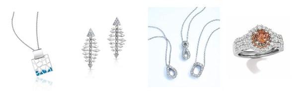 From left to right: Pt Moment (China), Platinum Evara (India), Platinum Woman (Japan), Le Vian Chocolate Diamonds® branded jewellery (USA)