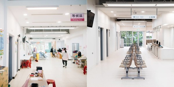 The picture on the left shows a traditional public health center in Taiwan; the one on the right is a public health center re-designed by TDRI.