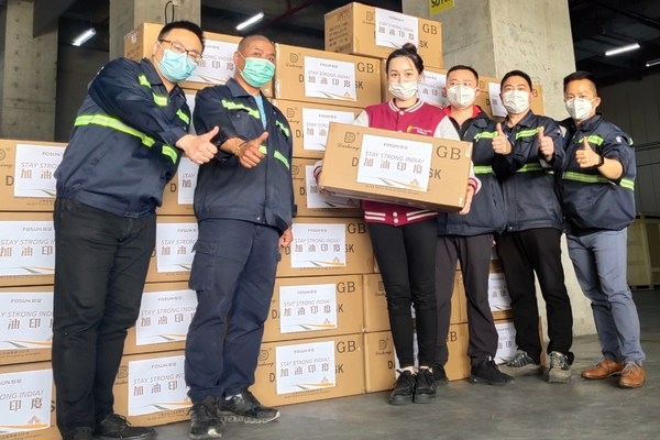 On May 2, 100,000 KN95 masks, a new batch of medical protective supplies aided by Fosun, arrived in Mumbai from Shanghai.