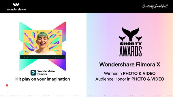 Wondershare Filmora X Selected as Winner and Audience Honoree for Best Photo and Video in the 13th Annual Shorty Awards
