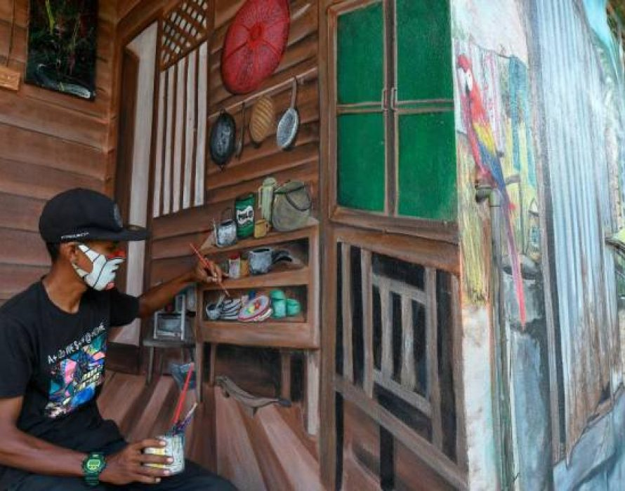 Painter turns concrete walls into work of art