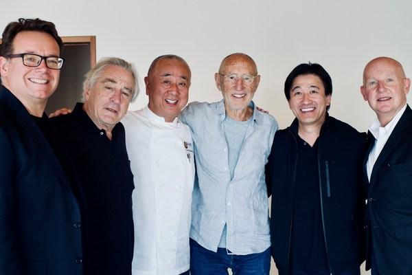 Nobu Hospitality leadership team: From left to right: Struan McKenzie, Robert De Niro, Chef Nobu Matsuhisa, Meir Teper, Hiro Tahara, and Trevor Horwell