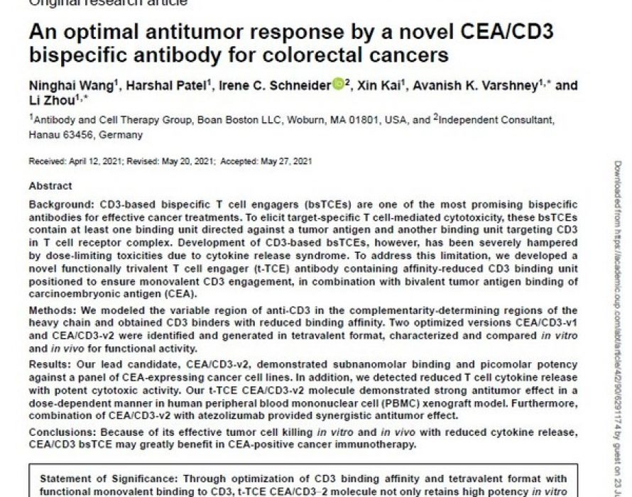 Boan Biotech Publishes Research Results for CEA/CD3 Bispecific Antibody in Antibody Therapeutics