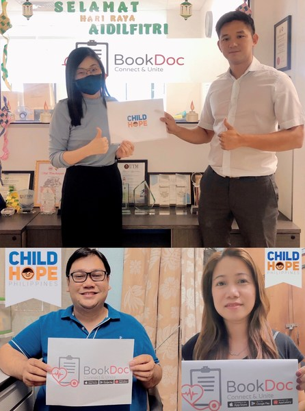 [(Above) from left: Elaine, BookDoc's Partnership Executive; Dato' Chevy, BookDoc's Founder and CEO][(Bottom) from left: Dr. Herbert, Executive Director of Childhope Philippines; Mylene, Resource Mobilization Manager of Childhope Philippines]