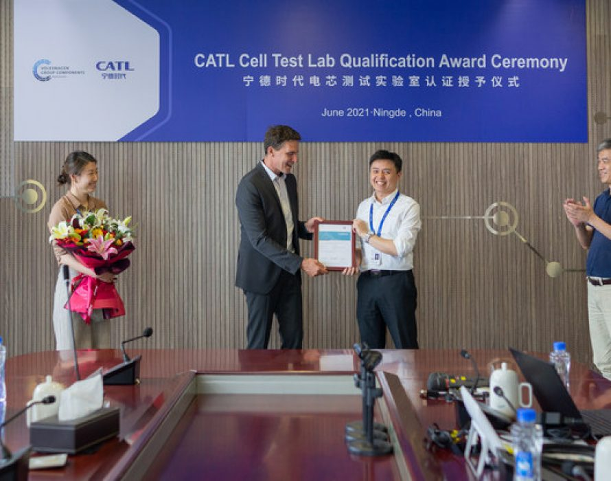CATL becomes the first cell manufacturer received Volkswagen Group's test lab qualification certificate in the world