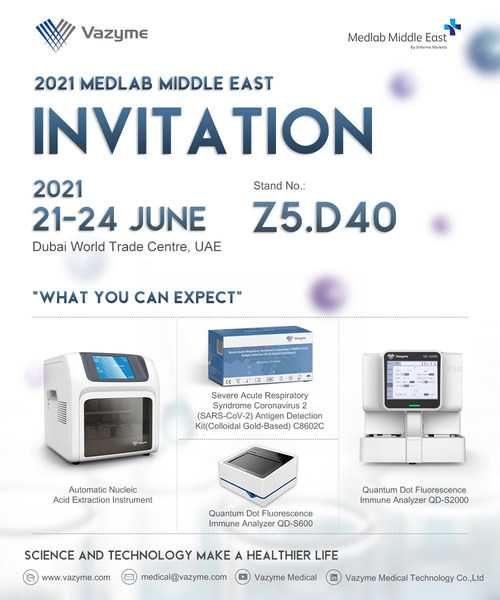 Vazyme to showcase full range of Covid-19 diagnostic and treatment solutions at 2021 Medlab Middle East