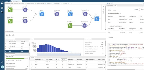 Altair SmartWorks allows users to build analytic workflows through visual pipelining and previews at every step, with the transparency on generated code and flexibility to edit or add your own code to through pipelines or notebooks