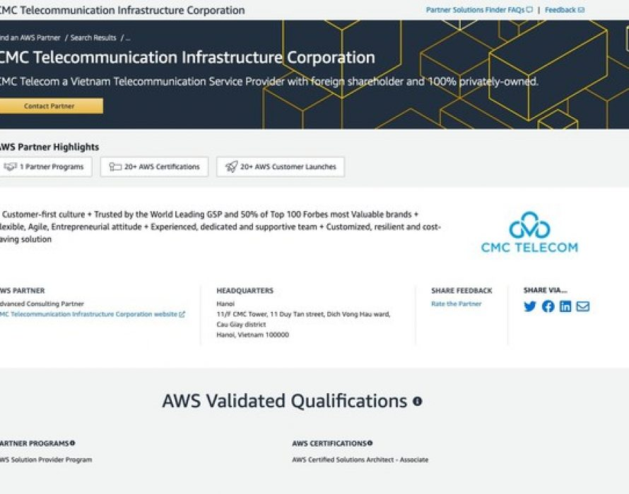 CMC Telecom has consistently advanced to the level of premium partner, becoming an AWS Advanced Consulting Partner