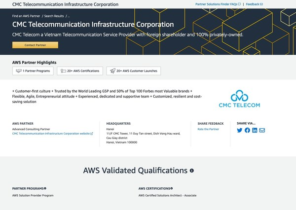 CMC Telecom was officially upgraded to Advanced Consulting Partner by AWS Partner Portal