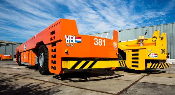 VDL's Automated Guided Vehicles which Durapower Group will be electrifying for the Netherlandic Port.