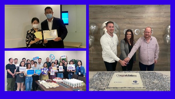 GEODIS in Hong Kong (top left), Mainland China (bottom left) and Australia (right) celebrating Investors in People (IIP) accreditation.