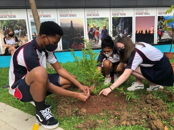 Students of Stamford American International School carrying out #goinggreen initiatives on campus grounds