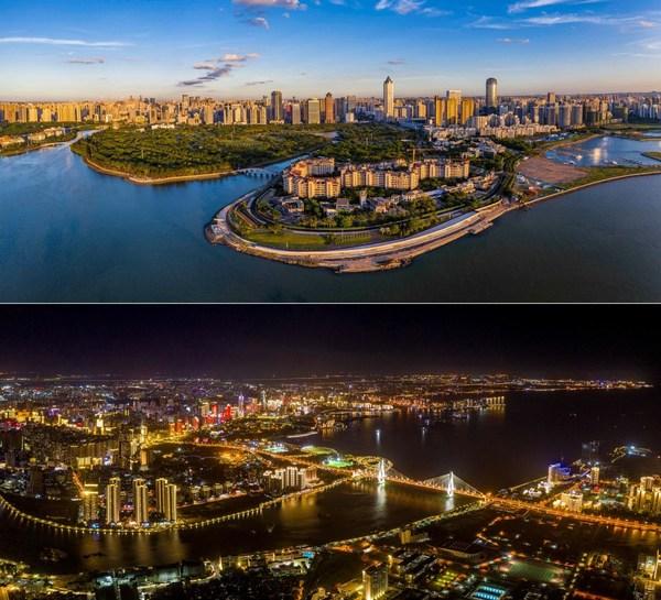 An aerial view of Haikou City in China's Hainan Free Trade Port. (Photo by Liu Yang / Hainan International Media Center)