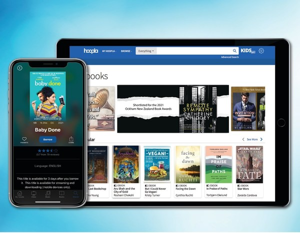 hoopla digital provides members access to borrow, download and stream diverse library content. Of the collection of titles available on hoopla, highlights include Remote Sympathy and Baby Done.