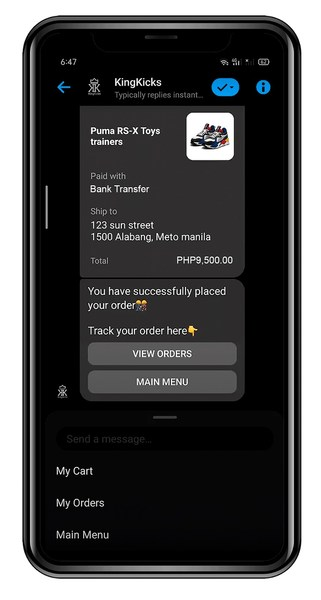 An example of a transaction made via bank transfer on a chat messenger