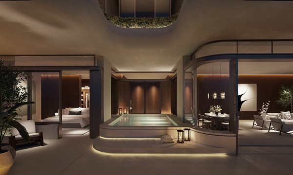 Exterior view looking into luxury hotel suite