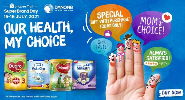 Our Health, my choice Super brand day campaign by Danone and Shopee in Malaysia