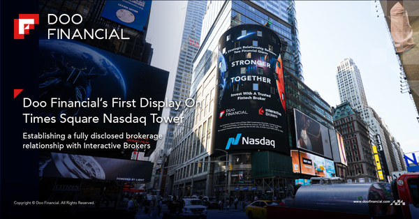 Doo Financial has recently established a fully disclosed brokerage relationship with Interactive Brokers and celebrated with a debut on the Nasdaq in Times Square, New York.